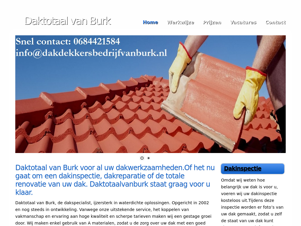 Webdesign Dakdekkersbedrijfvanburk